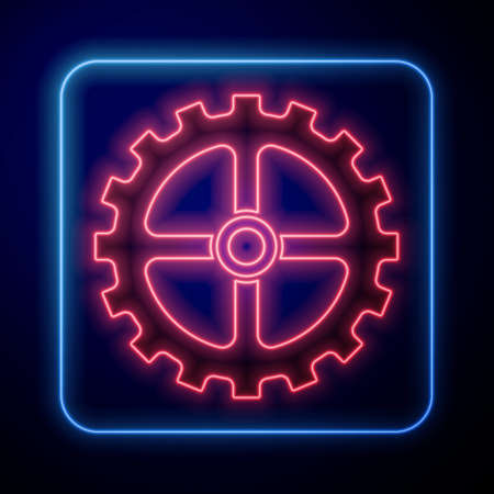 Glowing neon Bicycle sprocket crank icon isolated on black background. Vector
