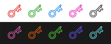 Set line Old key icon isolated on black and white background. Vector