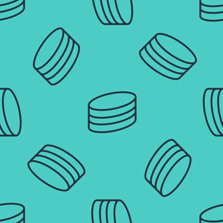 Black line Brownie chocolate cake icon isolated seamless pattern on green background. Vector