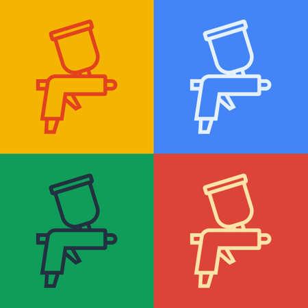 Pop art line Paint spray gun icon isolated on color background. Vector Ilustração Vetorial