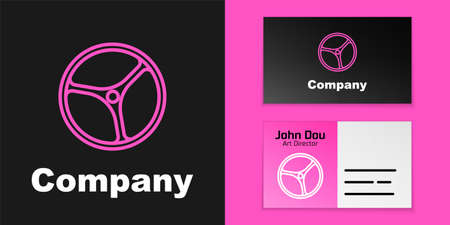 Pink line Bicycle wheel icon isolated on black background. Bike race. Extreme sport. Sport equipment.