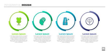 Set Armchair, Psychology, Psi, Metronome with pendulum and . Business infographic template. Vector Vektorgrafik