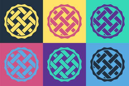 Pop art Homemade pie icon isolated on color background. Vector Vektoros illusztráció