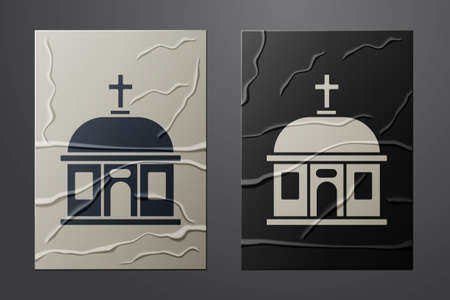 White Santorini building icon isolated on crumpled paper background. Traditional Greek white houses with blue roofs European culture. Paper art style. Vector