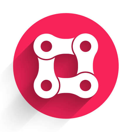 White Bicycle chain icon isolated with long shadow. Bike chain sprocket transmission. Red circle button. Vector