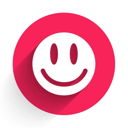 White Smile face icon isolated with long shadow. Smiling emoticon. Happy smiley chat symbol. Red circle button. Vector