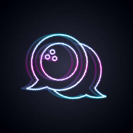 Glowing neon line Bowling ball icon isolated on black background. Sport equipment. Vector