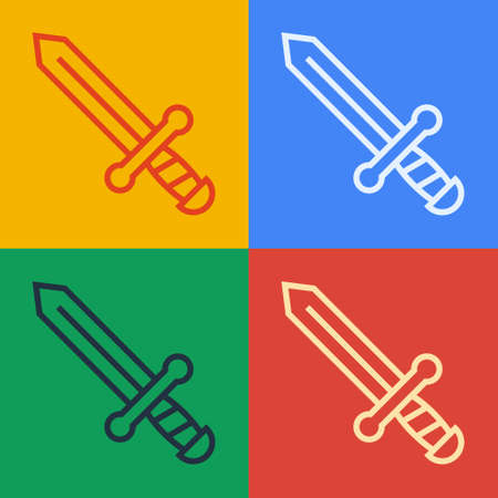 Pop art line Medieval sword icon isolated on color background. Medieval weapon. Vector