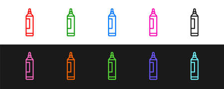 Set line Marker pen icon isolated on black and white background. Vector