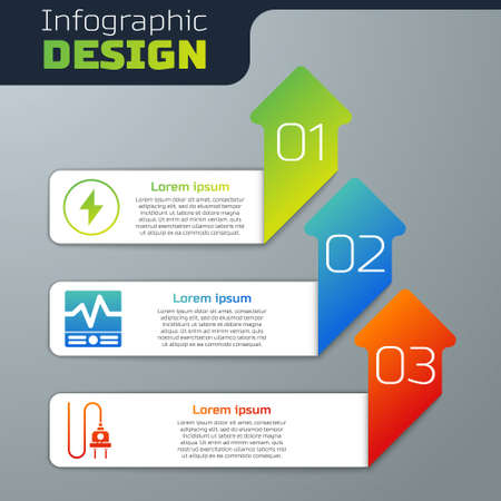Set Lightning bolt, Electrical measuring instruments and Electric plug. Business infographic template. Vector Иллюстрация