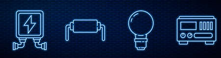 Set line Light bulb with concept of idea, Electric transformer, Resistor electricity and Electrical measuring instruments. Glowing neon icon on brick wall. Vector