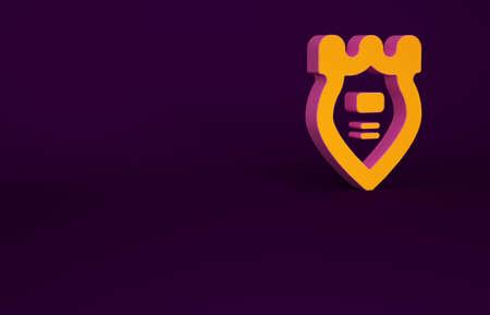 Orange Police badge icon isolated on purple background. Sheriff badge sign. Minimalism concept. 3d illustration 3D render