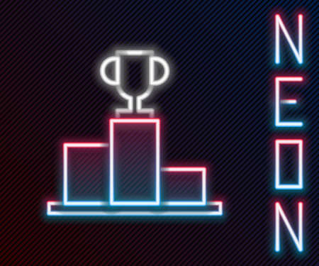 Glowing neon line Hockey over sports winner podium icon isolated on black background. Colorful outline concept. Vector Illustration