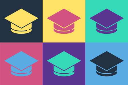 Pop art Graduation cap icon isolated on color background. Graduation hat with tassel icon. Vector