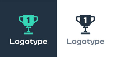 Logotype Award cup icon isolated on white background. Winner trophy symbol. Championship or competition trophy.