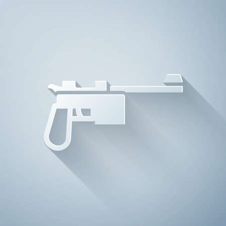 Paper cut Mauser gun icon isolated on grey background. Mauser C96 is a semi-automatic pistol. Paper art style. Vector