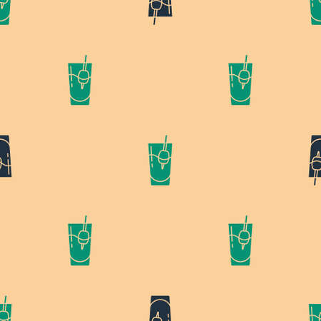 Green and black Cocktail Bloody Mary icon isolated seamless pattern on beige background. Vector