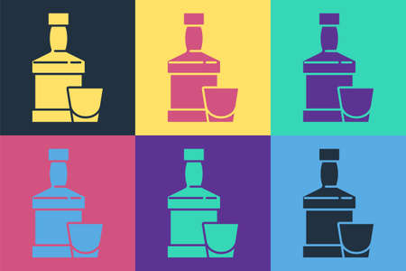 Pop art Whiskey bottle and glass icon isolated on color background. Vector