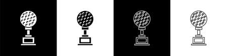 Set Award cup with golf icon isolated on black and white background. Winner trophy symbol. Championship or competition trophy. Sports achievement sign. Vector