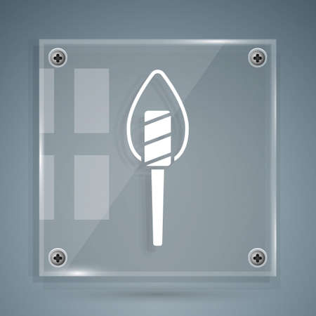 White Torch flame icon isolated on grey background. Symbol fire hot, flame power, flaming and heat. Square glass panels. Vector