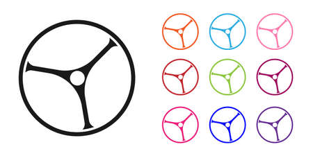 Black Bicycle wheel icon isolated on white background. Bike race. Extreme sport. Sport equipment. Set icons colorful. Vector