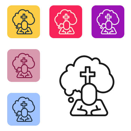 Black line Man graves funeral sorrow icon isolated on white background. The emotion of grief, sadness, sorrow, death. Set icons in color square buttons. Vector