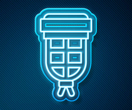 Glowing neon line Billiard pocket icon isolated on blue background. Billiard hole. Vector