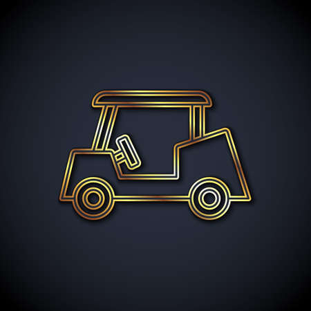 Gold line Golf car icon isolated on black background. Golf cart. Vector