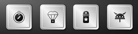 Set Compass, Box flying on parachute, Chevron and Viking horned helmet icon. Silver square button. Vector