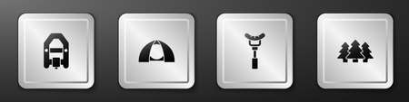 Set Rafting boat, Tourist tent, Sausage on the fork and Forest icon. Silver square button. Vector