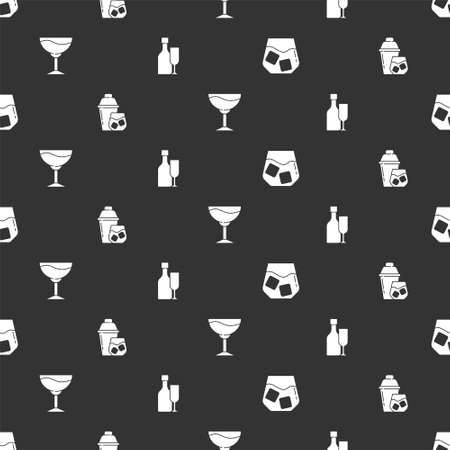 Set Glass of whiskey, Cocktail shaker, Wine glass and bottle with on seamless pattern. Vector Stock Illustratie