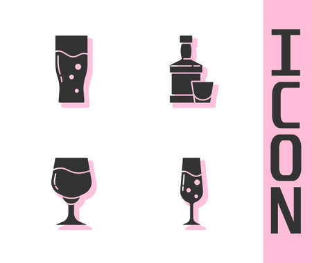 Set Glass of champagne, beer, Wine glass and Whiskey bottle and icon. Vector Stock Illustratie