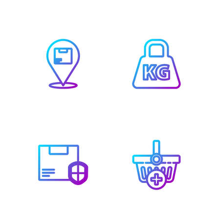 Set line Add to Shopping basket, Delivery security with shield, Location cardboard box and Weight. Gradient color icons. Vector
