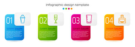 Set line Cocktail shaker, Glass of champagne, with water and Whiskey bottle. Business infographic template. Vector