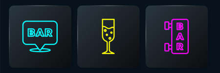 Set line Alcohol bar location, Street signboard with Bar and Glass of champagne. Black square button. Vector