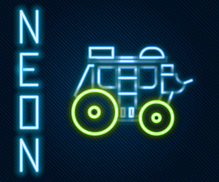 Glowing neon line Western stagecoach icon isolated on black background. Colorful outline concept. Vector Illustration Vecteurs