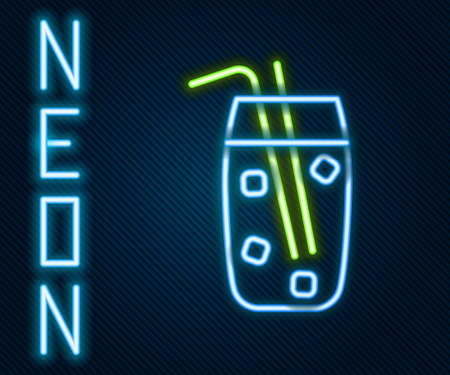 Glowing neon line Cocktail and alcohol drink icon isolated on black background. Colorful outline concept. Vector Illustration