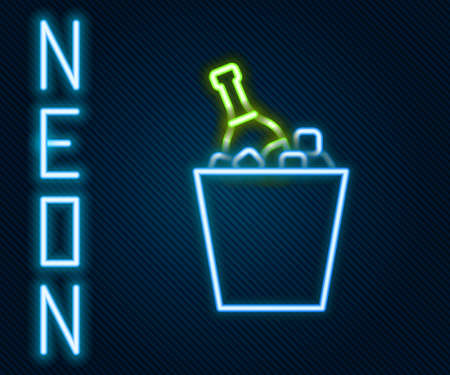 Glowing neon line Bottle of champagne in an ice bucket icon isolated on black background. Colorful outline concept. Vector Illustration