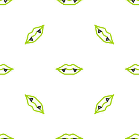 Line Vampire teeth icon isolated seamless pattern on white background. Happy Halloween party. Vector