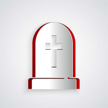 Paper cut Tombstone with cross icon isolated on grey background. Grave icon. Happy Halloween party. Paper art style. Vector