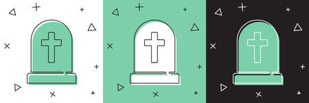 Set Tombstone with cross icon isolated on white and green, black background. Grave icon. Happy Halloween party. Vector