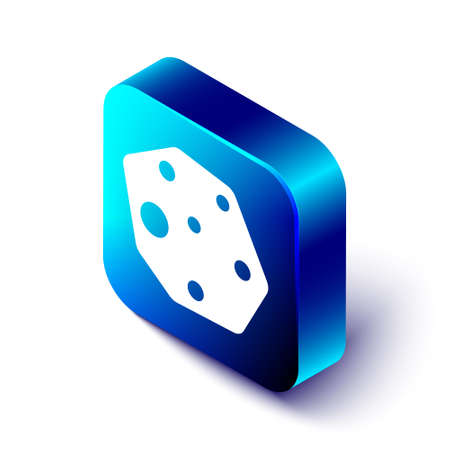 Isometric Asteroid icon isolated on white background. Blue square button. Vector Ilustración de vector
