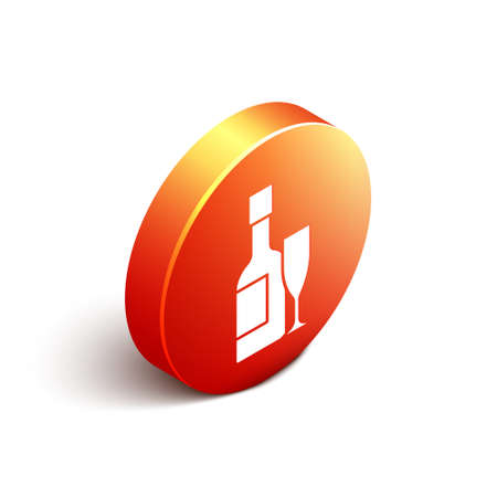 Isometric Champagne bottle and glass of champagne icon isolated on white background. Merry Christmas and Happy New Year. Orange circle button. Vector