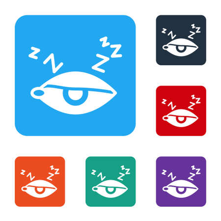 White Insomnia icon isolated on white background. Sleep disorder with capillaries and pupils. Fatigue and stress. Set icons in color square buttons. Vector