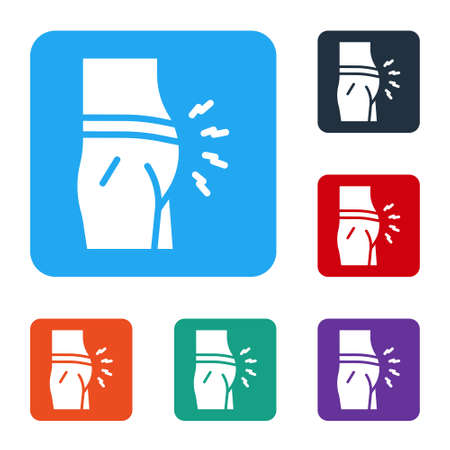 White Abdominal bloating icon isolated on white background. Constipation or diarrhea. Set icons in color square buttons. Vector