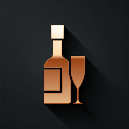 Gold Champagne bottle and glass of champagne icon isolated on black background. Merry Christmas and Happy New Year. Long shadow style. Vector Stock Illustratie