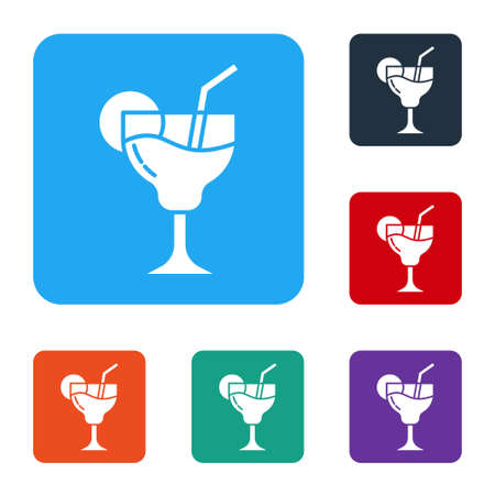 White Cocktail and alcohol drink icon isolated on white background. Set icons in color square buttons. Vector