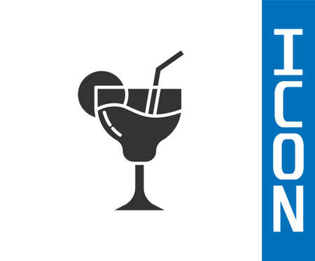 Grey Cocktail and alcohol drink icon isolated on white background. Vector