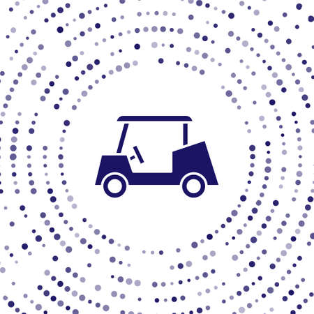 Blue Golf car icon isolated on white background. Golf cart. Abstract circle random dots. Vector