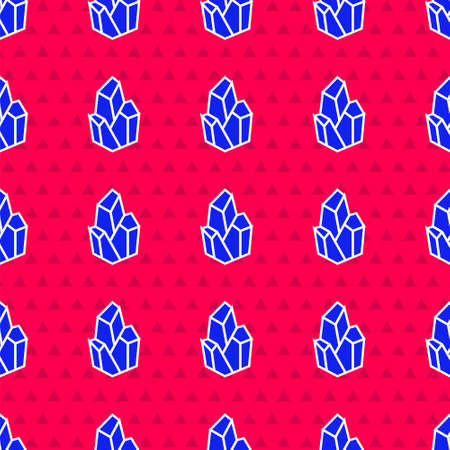 Blue Magic stone icon isolated seamless pattern on red background. Fantasy crystal. Jewelry gem for game. Vector